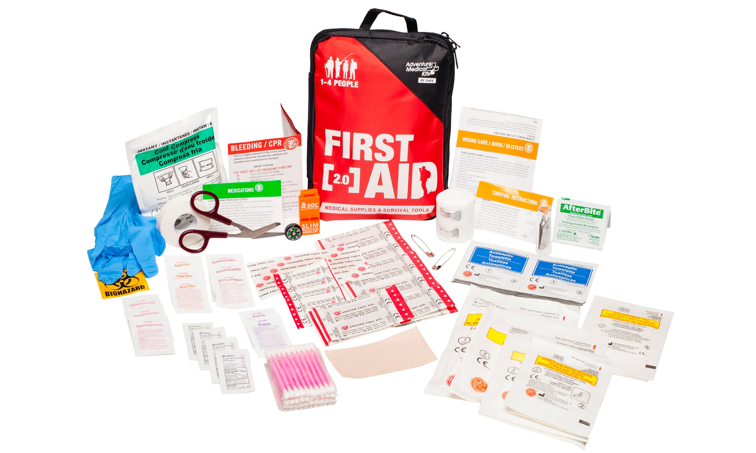 Adventure Medical Kits Adventure First Aid 2.0 First Aid Kit, Easy Care, Survival Items, Active Families, First Aid Essentials, Durable Case, Fully Stocked, 1lb 1oz