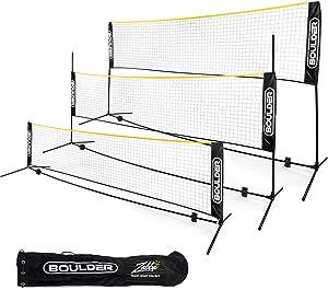 Boulder Portable Badminton Net Set. for Tennis, Soccer Tennis, Pickleball, Kids Volleyball. Easy Setup Nylon Sports Net with Poles