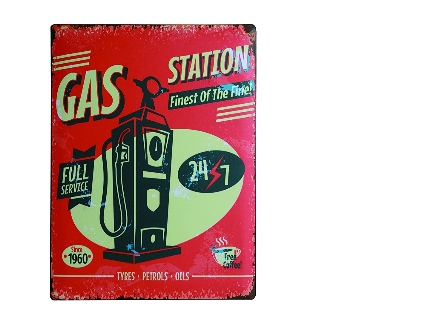 Amazon.com : Cartel de Chapa Gas Station 30 x 40 cm : Garden ...