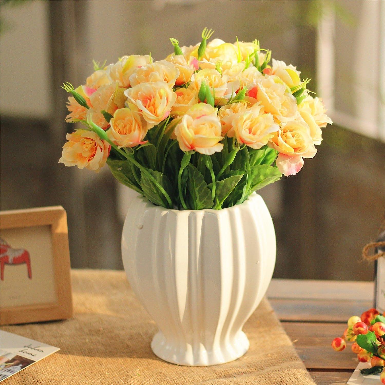 エミュレーション花ローズシルクフラワースイングセットin the living room interiorスイングでプラスチック製のダイニングテーブル花ドライフラワー、ライトイエロー B0791DC6K4