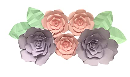 Paper Flower Decoration Kit Diy Paper Flower Backdrop 113 Piece Set 2 Large Flowers 3 Medium Flowers 4 Leaves Purple Pink