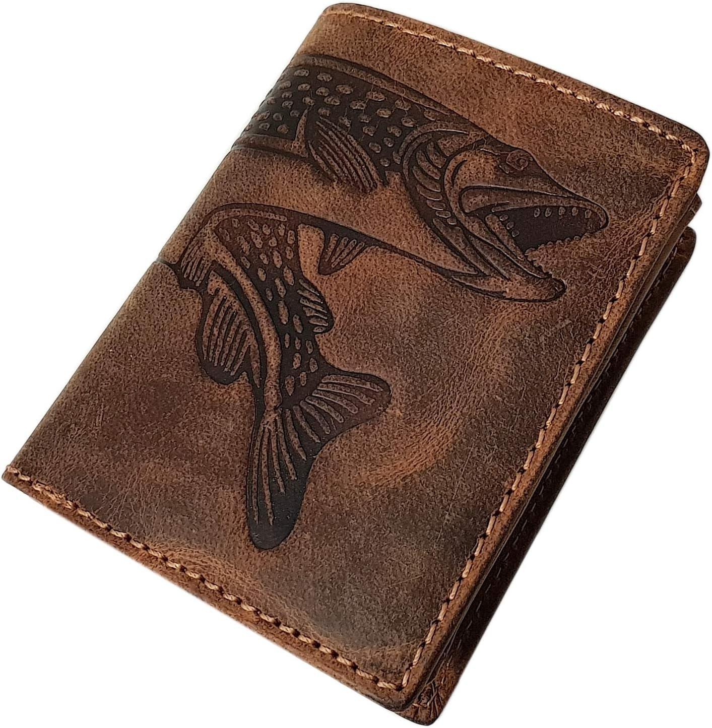 Pequeño Cuero de búfalo Cartera con Pescado-Motivo con Bloqueo RFID y NFC en marrón