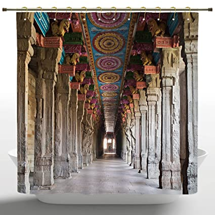 Fancy Shower Curtain By IPrintPillarSpiritual Theme Inside Of Old Meenakshi Temple In