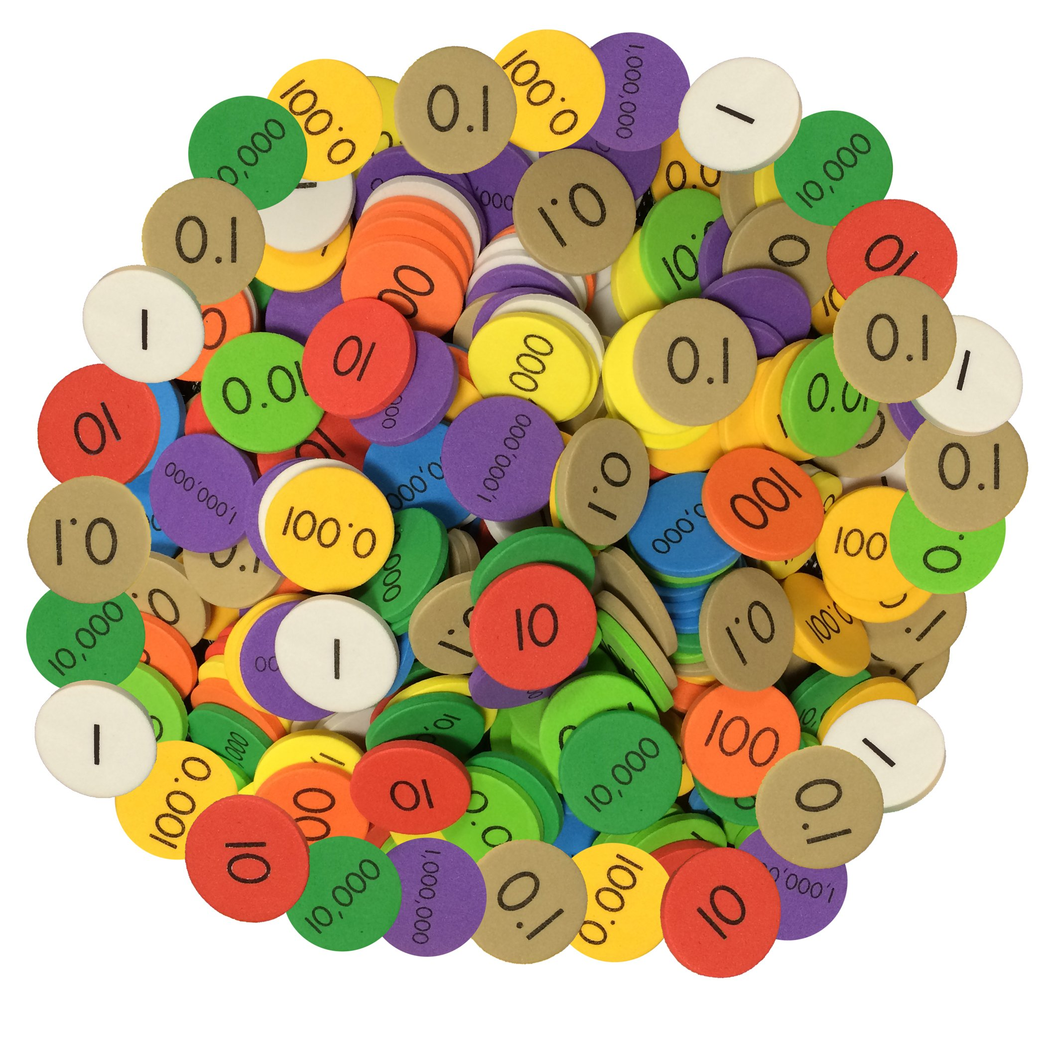 Essential Learning Products 10 Decimals to Whole Numbers Place Value Discs