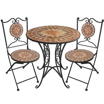 Amazon.de: 3tlg. Mosaik Gartengarnitur Mosaiktisch Ø70cm +