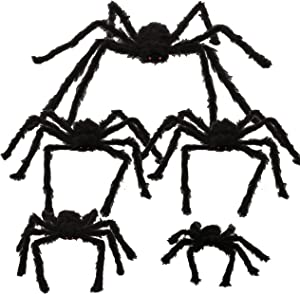 "Halloween Realistic Hairy Spiders Set (5 Pack), Halloween Spider Props, Scary Spiders with Different Sizes for Indoor and Outdoor Decorations (47"", 35"" 35"", 30"", 24"")"