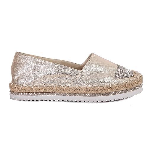 francescomilano - Alpargatas de Material Sintético para mujer Dorado dorado, color Dorado, talla 37 EU: Amazon.es: Zapatos y complementos