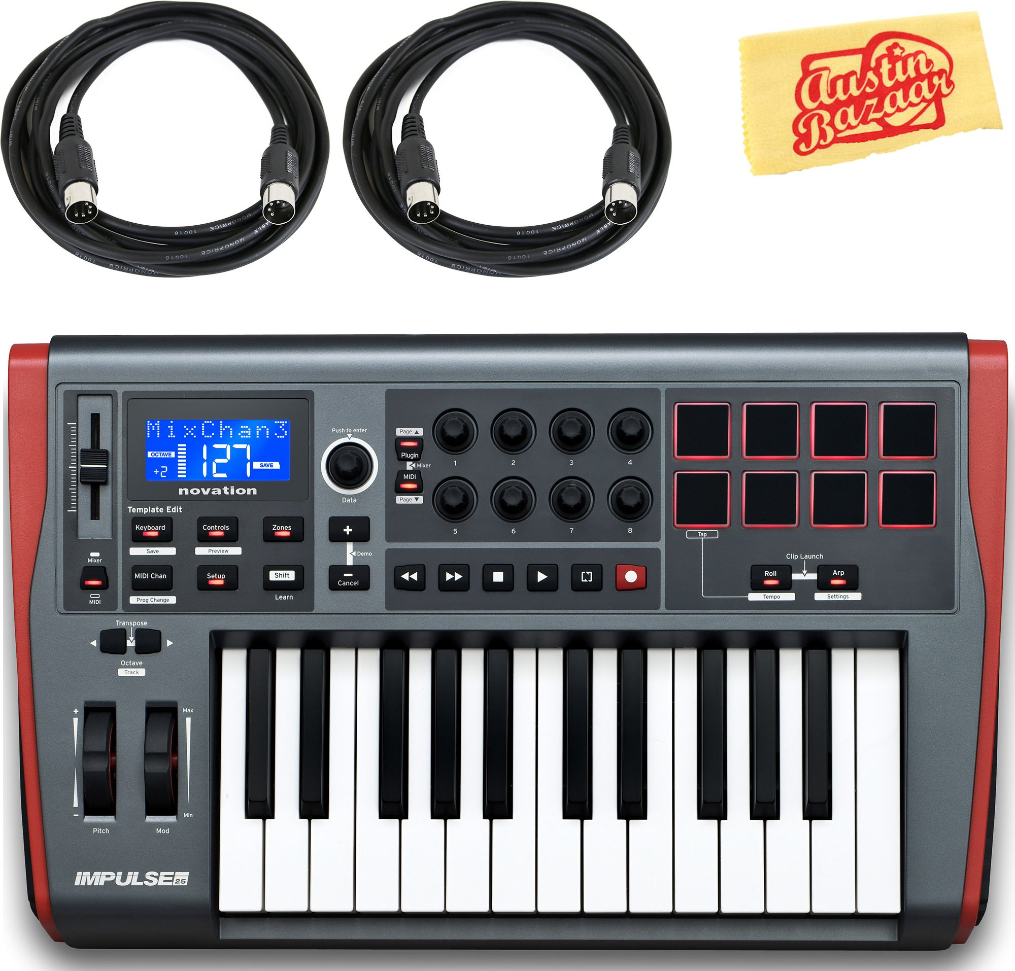 Novation Impulse 25 Keyboard Bundle with MIDI Cables and Austin Bazaar Polishing Cloth by Novation (Image #1)