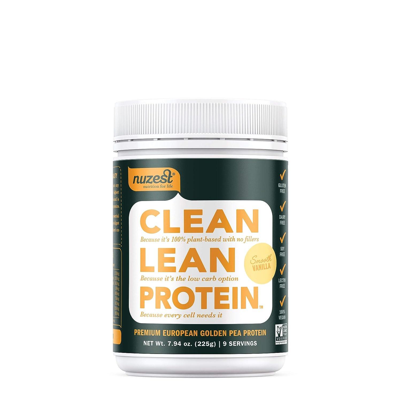 Nuzest Clean Lean Protein – Premium Vegan Protein Powder, Plant Protein Powder, European Golden Pea Protein, Dairy Free, Gluten Free, GMO Free, Naturally Sweetened, Smooth Vanilla, 9 Servings, 7.9 oz