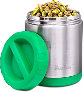 Vacuum Insulated Food Jar 24-Ounce - 100% Stainless Steel Interior - Leak Proof Soup Jar & Food Storage Container, Green