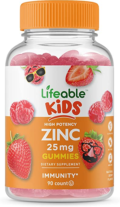 Lifeable Zinc Gummies for Kids – 25mg – Great Tasting Natural Flavor Gummy Supplement Vitamins – Gluten Free Vegetarian GMO-Free Chewable – for Healthy Immune Support – 90 Gummies