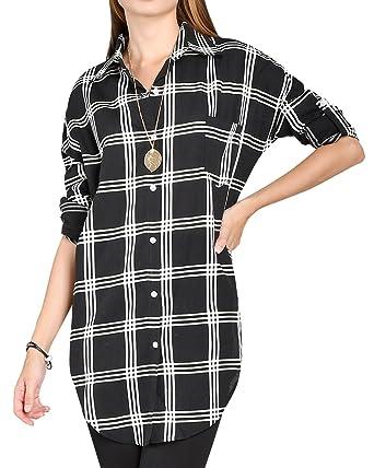 2f8bcb95 ililily Women Plaid Checkered Longline Shirt Dress Semi-Sheer Round Hem  Blouse, Black