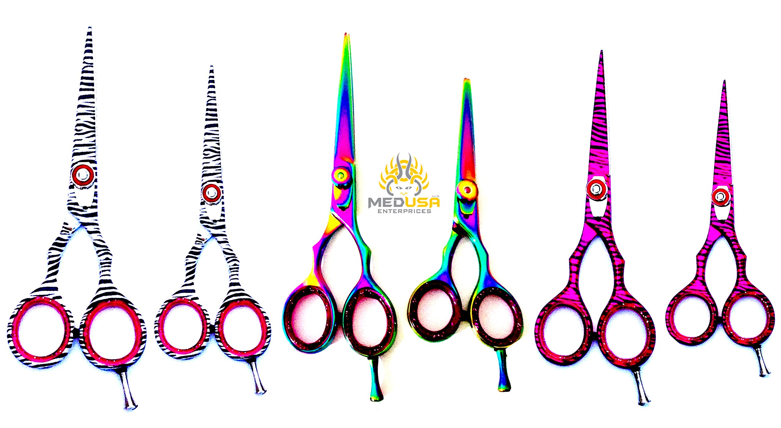 Professional High Quality Japanese Stainless Steel Barber Razor Edge Hair Cutting Shears Scissors Sets 5.5'' & 4.5'' by MedUSA