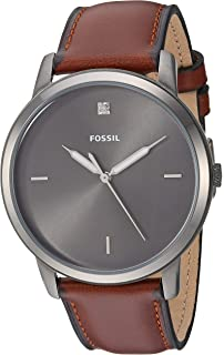 0214f3b8e Fossil Men Minimalist Carbon Series Stainless Steel and Leather Diamond  Accent Dress Quartz Watch