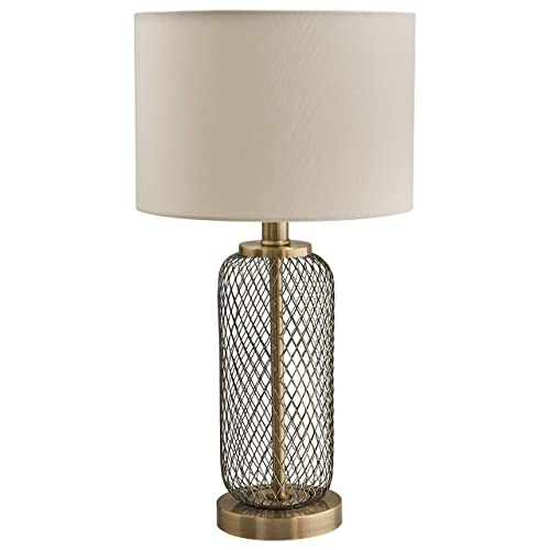 Stone Beam Modern Metal Mesh Living Room Table Lamp With Light Bulb – 10 x 10 x 19 Inches, Antique Brass with Linen Shade