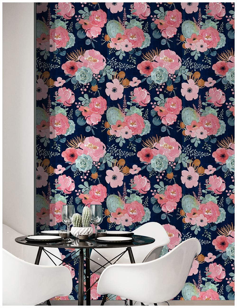 no Tejido DishyKooker Papel Pintado de Color s/ólido con Rayas Verticales Azul 10 m para decoraci/ón de Fondo de TV