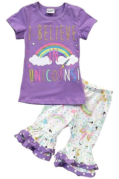 ef722cf6c27b Amazon.com: Little Girls 2 Pieces Capris Set I Believe in Unicorn Short Set  Outfit Clothing: Clothing