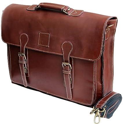 Amazon Com 18 Large Dark Leather Bag For Men Messenger Bag