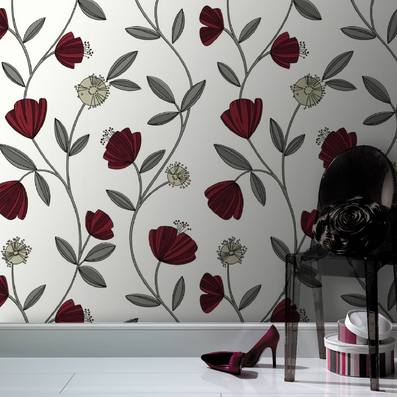 SALE Superfresco Easy Paste The Wall Capri Red Floral Wallpaper