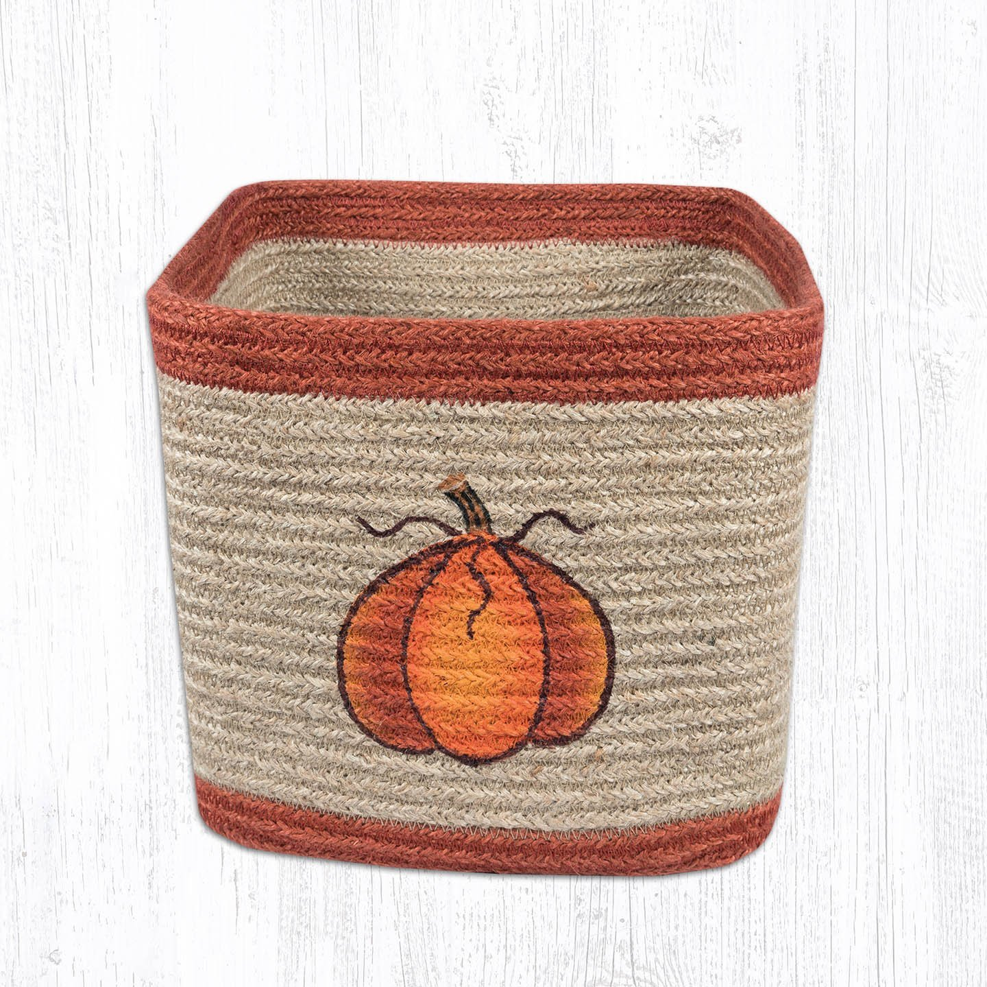 Heart of America Harvest Pumpkin Square Printed Basket 8 in. by 8 in.