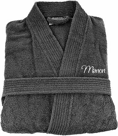 Brodeway, albornoz de baño para adulto hombre y mujer 100% algodón, bordado personalizable, algodón, antracita, medium: Amazon.es: Hogar
