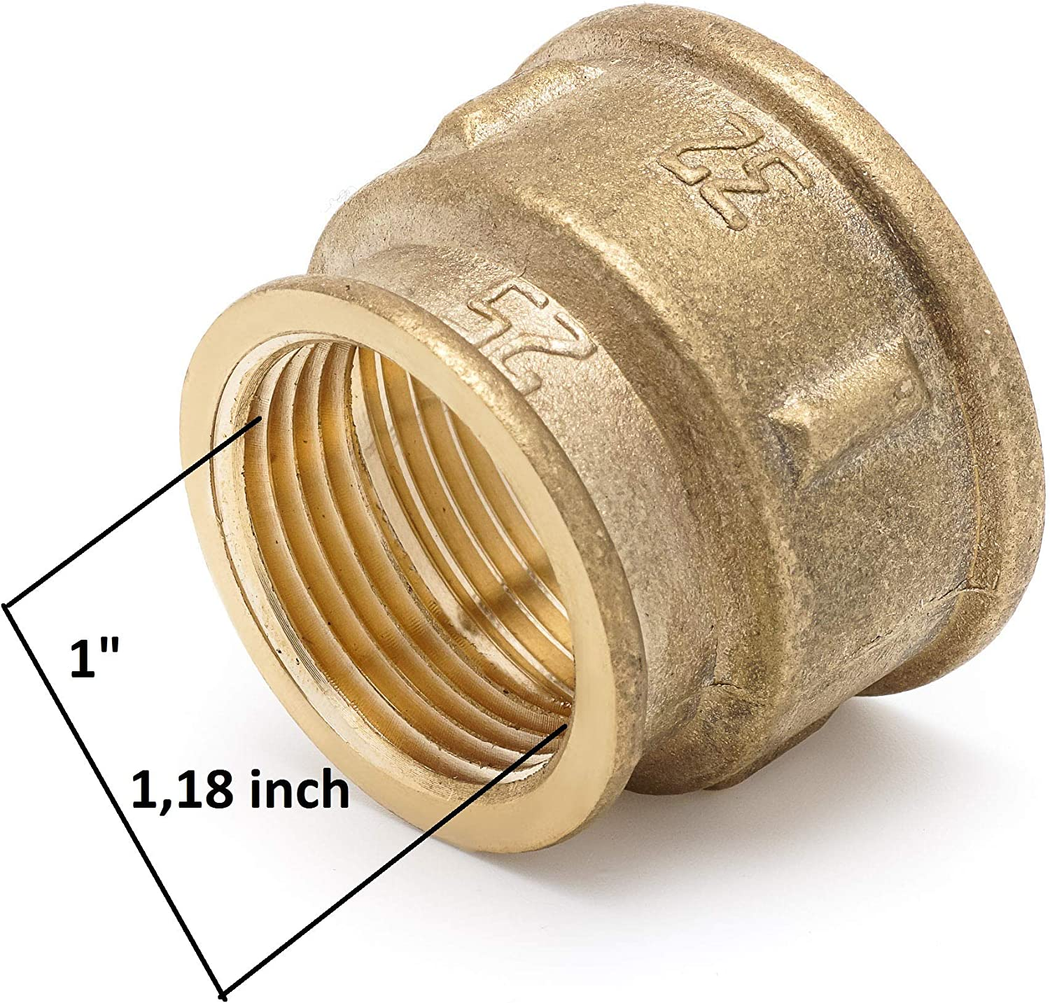 """Reducing Coupling 1 Female x 1 /¼/"""" Female Brass Coupling 1 inches x 1/¼ inches Female Lead Free Brass Pipe Fitting"""