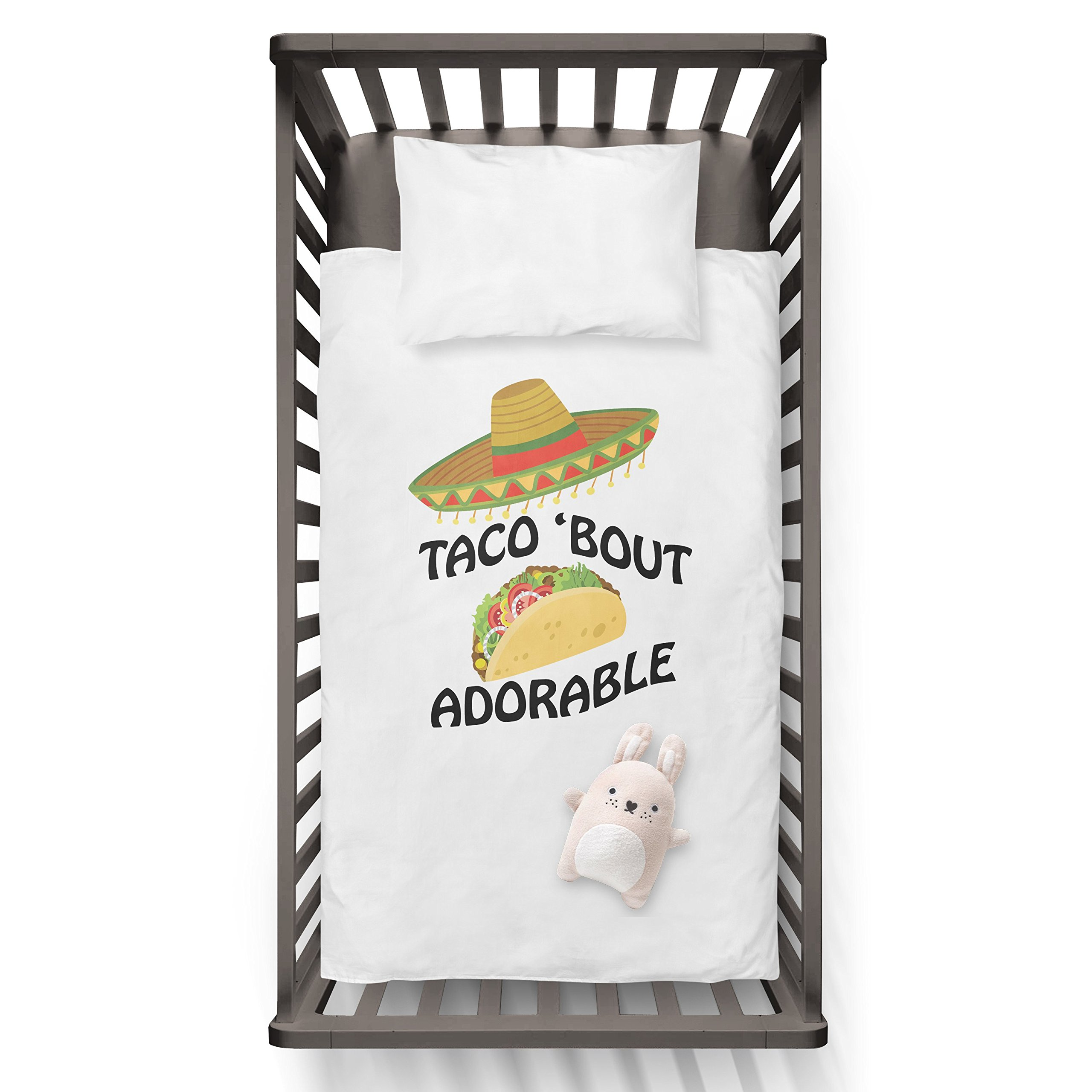 Taco 'Bout Adorable Funny Humor Hip Baby Duvet /Pillow set,Toddler Duvet,Oeko-Tex,Personalized duvet and pillow,Oraganic,gift