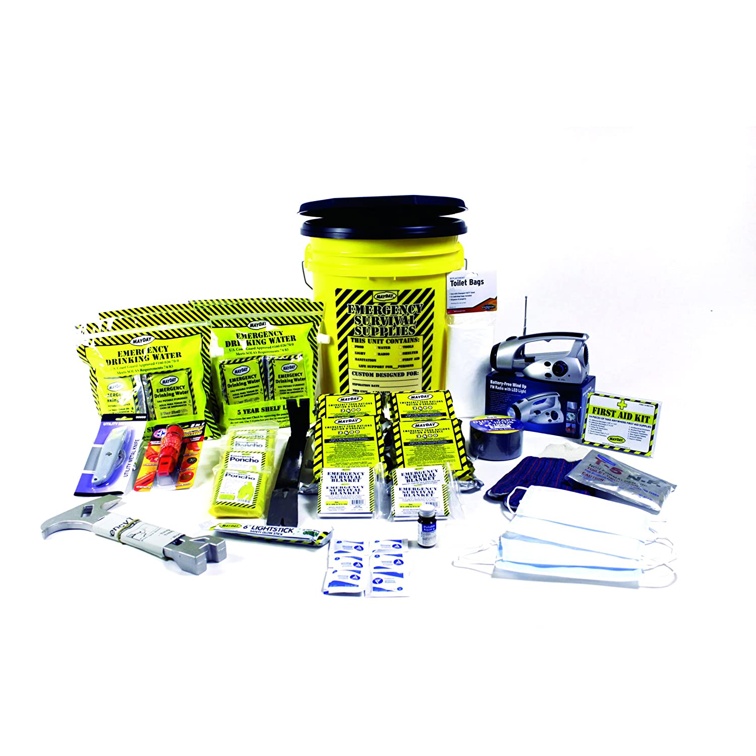 Mayday Earthquake Kit Deluxe Home Honey Bucket Survival Emergency
