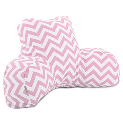 Majestic Home Goods Chevron Reading Pillow, Baby Pink