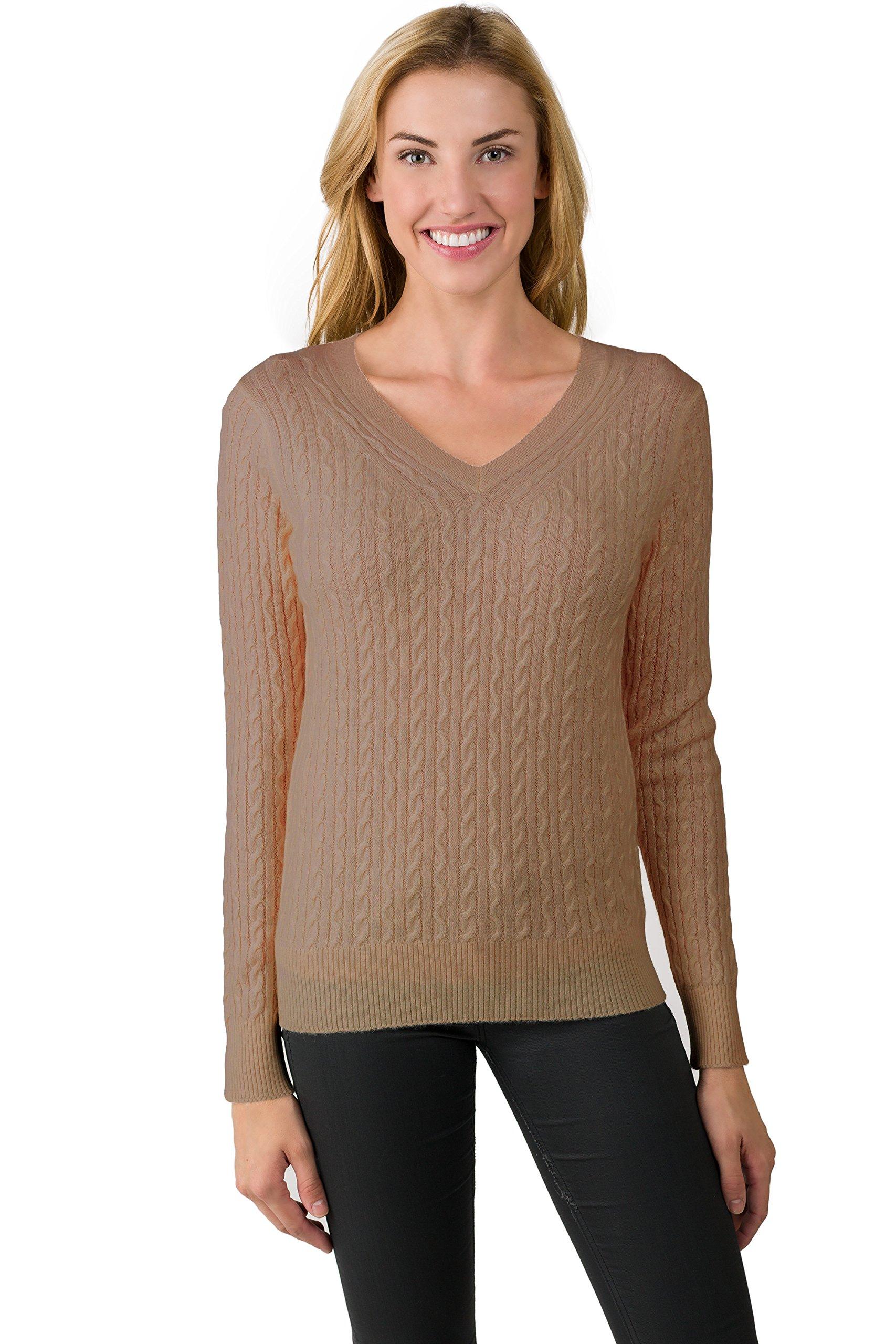 JENNIE LIU J Cashmere Women's 100% Cashmere Pullover Cable-Knit V-Neck Sweater (Large, Camel)
