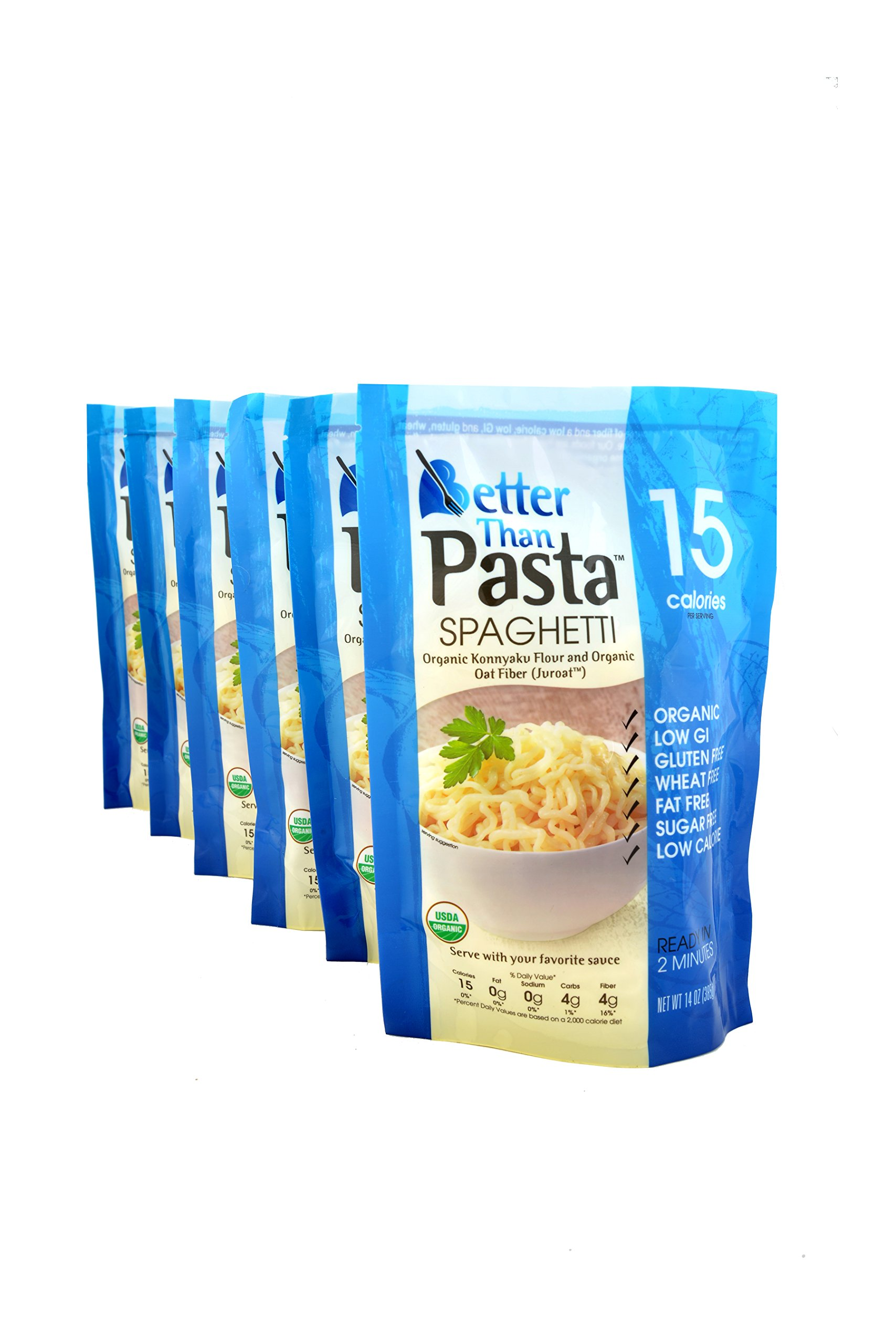 Better Than Pasta. Certified Organic. Vegan, Gluten-Free, Non-GMO, Konjac, Shirataki Spaghetti Noodles 14oz. (6pack/84.oz) ($0.29 Per Ounce) by Better Than Foods