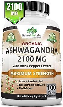 Organic Ashwagandha 2,100 Mg   100 Vegan Capsules Pure Organic Ashwagandha Root Extract And Powder   Natural Anxiety Relief, Mood Enhancer, Immune & Thyroid Support, Anti Anxiety by Natura Life Labs
