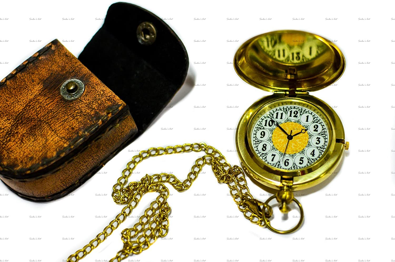 Sailor 's Art Taschenuhr Push Knopf Glänzenden Messing mit Prägung Leder Fall Antique Home Décor Artikel, ideal Geschenke