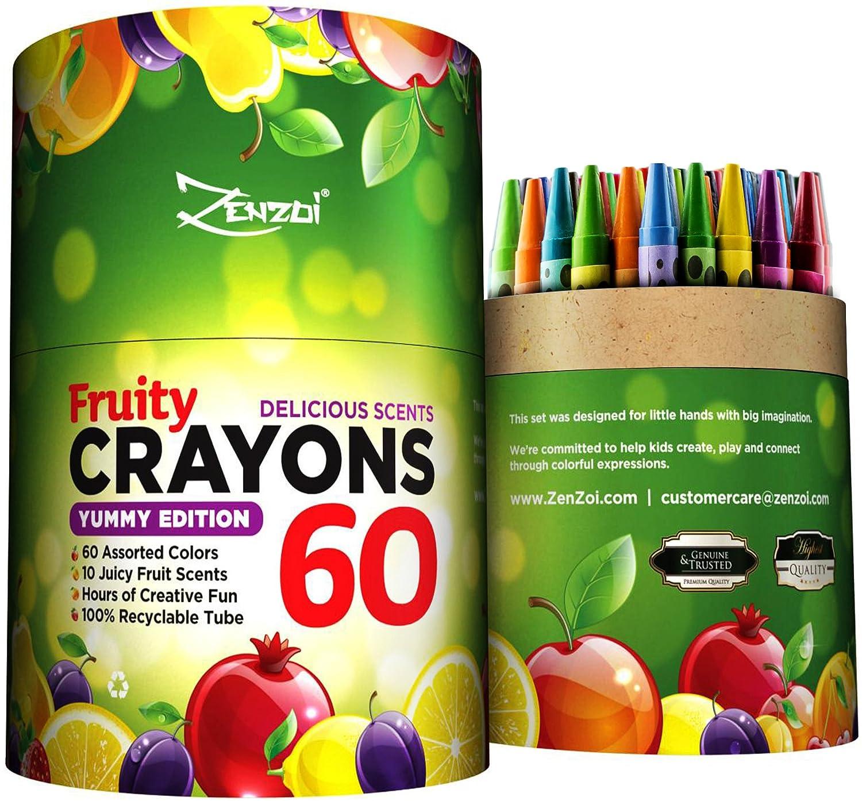 Amazon.com: ZenZoi 60-Piece Scented Crayon Box with Coloring E-Book ...