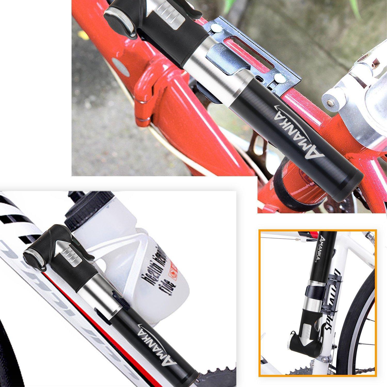 Kompatibel Presta und Schrader f/ür Camping AMANKA Mini Fahrradpumpe 120PSI//8 Bar Teleskopische Luftpumpe Tragbare Rahmenpumpe aus Aluminium mit Halterung Biken Luftballon