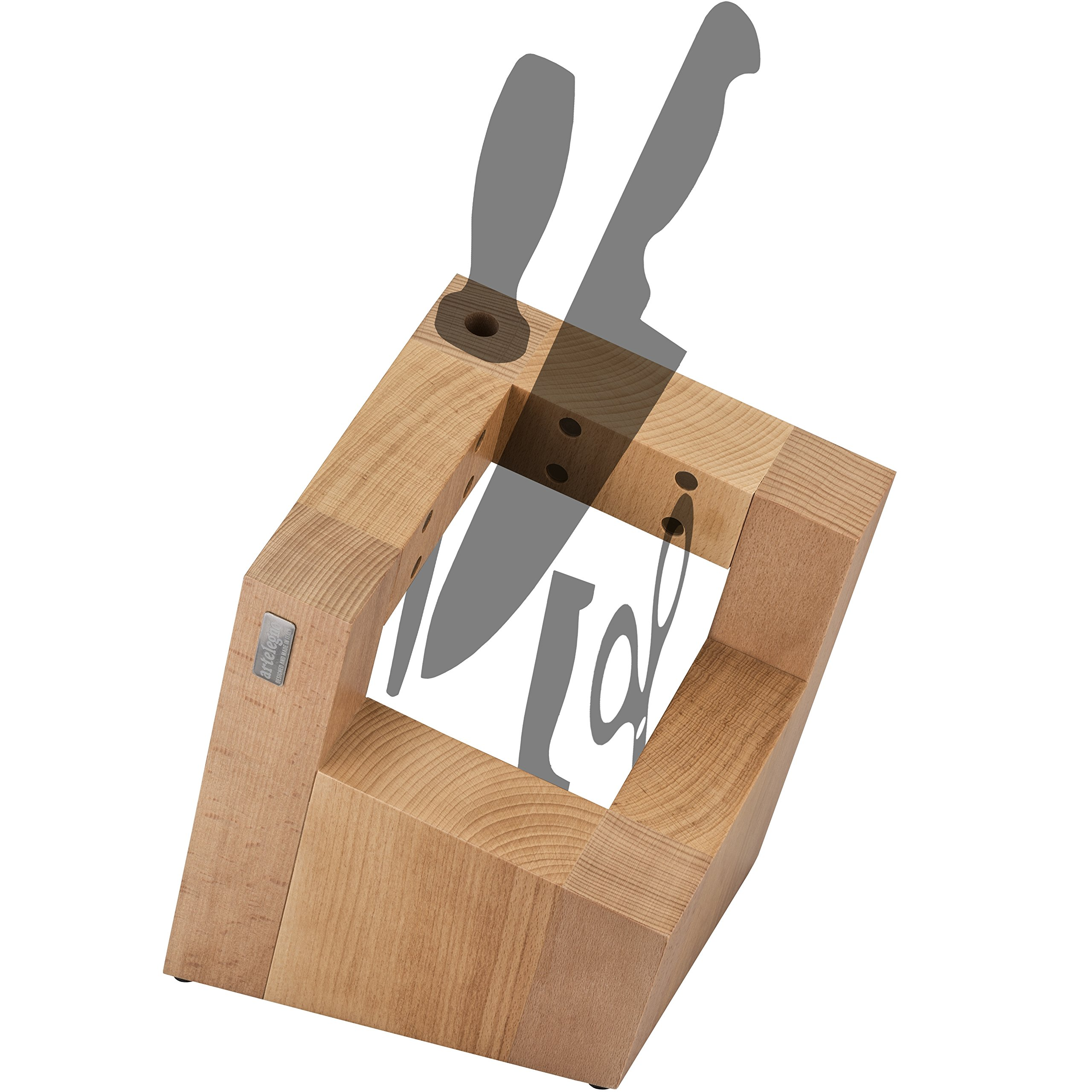 Artelegno Magnetic Knife Block Solid Beech Wood with Sharpener Holder, Luxurious Italian Pisa Collection by Master Craftsmen Displays/Protects 8 High-End Knives, Eco-friendly--Natural Finish