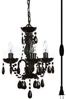 Jet black murano venetian style all crystal mini chandelier the original gypsy color 3 light mini plug in black chandelier for h16 w13 aloadofball Image collections