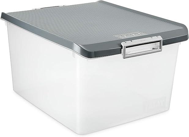 TATAY 1150022 - Caja de Almacenamiento Multiusos con Tapa, 35 l de Capacidad, Plástico Polipropileno Libre de BPA, Gris, 37,7 x 47,5 x 26 cm: Amazon.es: Hogar