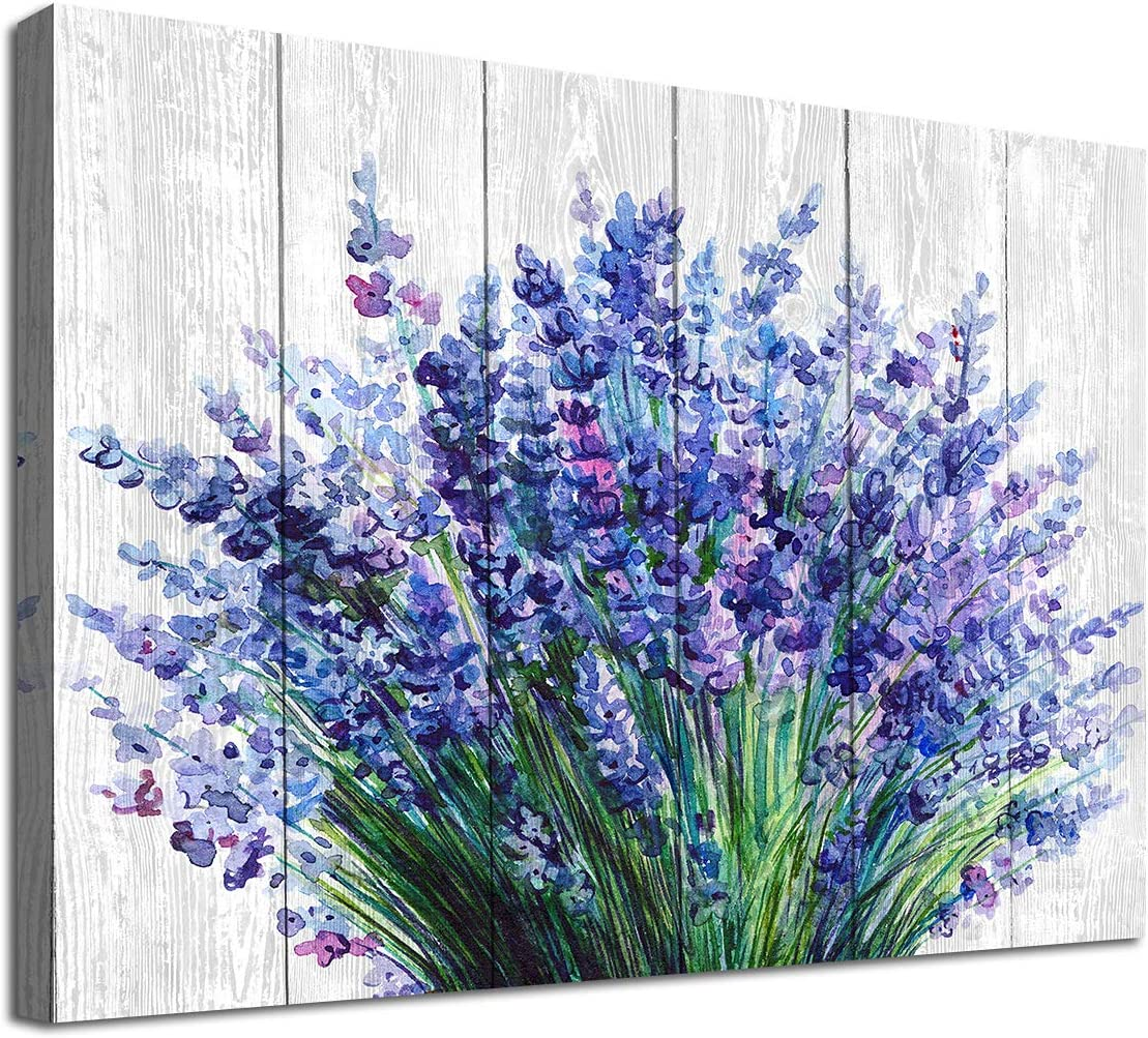 """Lavender Wall Art Bathroom Decor Blue Flowers Canvas Picture Watercolor Painting Prints Bedroom Wall Decor Modern Blossom Canvas Art for Home Decoration 12"""" x 16"""""""