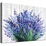 Lavender Wall Art Blue Flowers Watercolor Painting Canvas Picture for Bathroom Bedroom Wall Decor Modern Blossom Canvas Art f