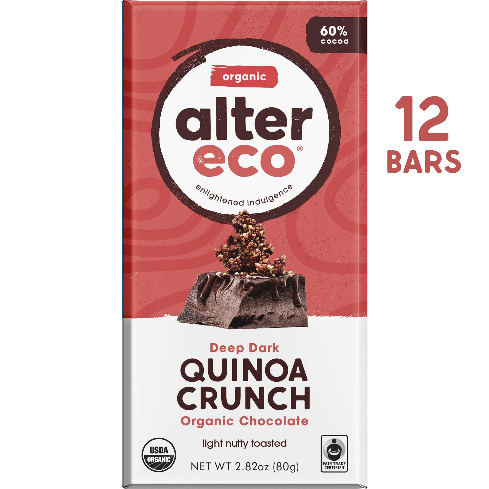 Alter Eco | Dark Quinoa Crunch | 60% Pure Dark Cocoa, Fair Trade, Organic, Non-GMO, Gluten Free Dark Chocolate Bar, 12 Bars by Alter Eco