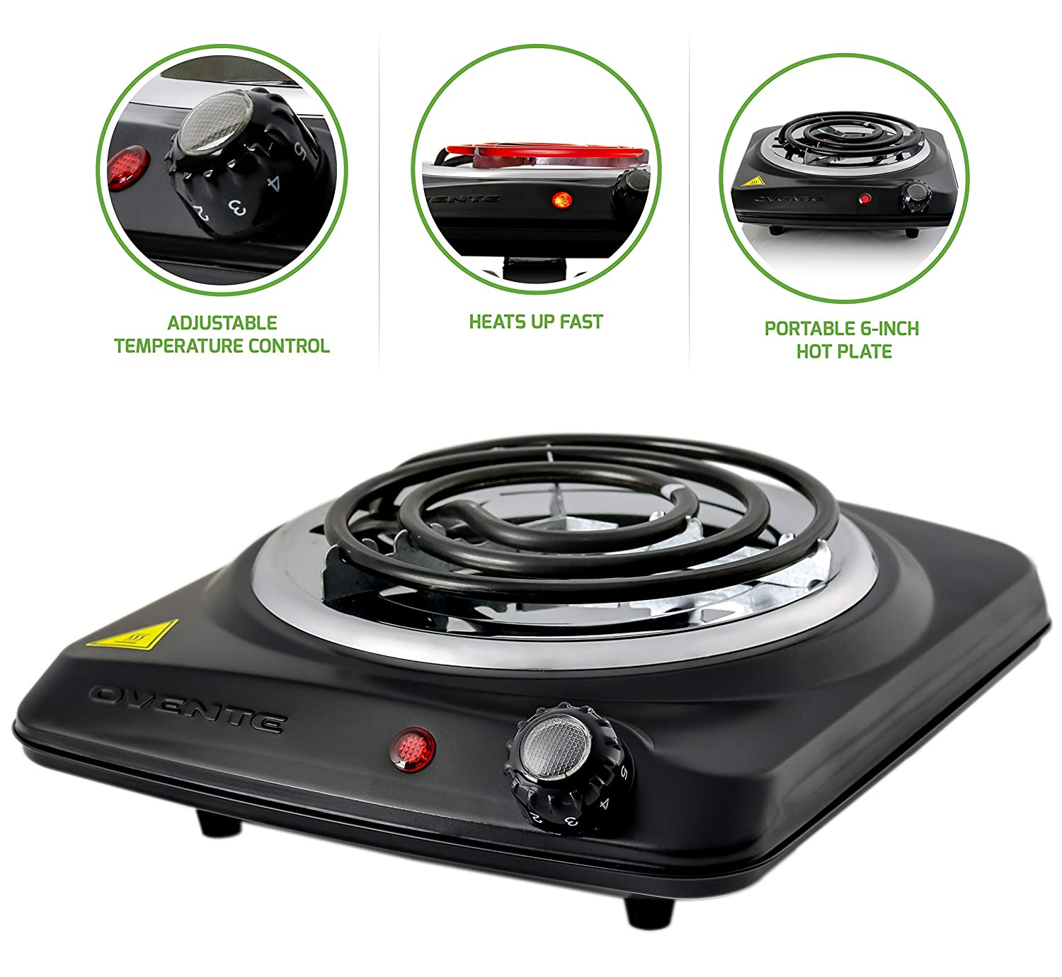 OVENTE Countertop Electric Single Coil Burner, 1000W (120V), 6-Inch Plate, Adjustable Temperature Control, Metal Housing, Black (BGC101B)