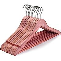 TOPIA HANGER American Red Cedar Wood Coat Hangers, Wooden Suit Hangers, Smooth Cut Notches- 360°Flexible Hook- Solid Non…