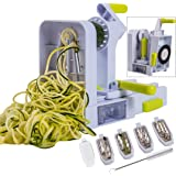 Brieftons QuickFold 5-Blade Spiralizer: 2018 Model, Versatile & Compact Foldable Vegetable Spiral Slicer, Best Veggie Pasta Spaghetti Maker for Low Carb/Paleo/Gluten-Free with Brush & 4 Recipe Ebooks