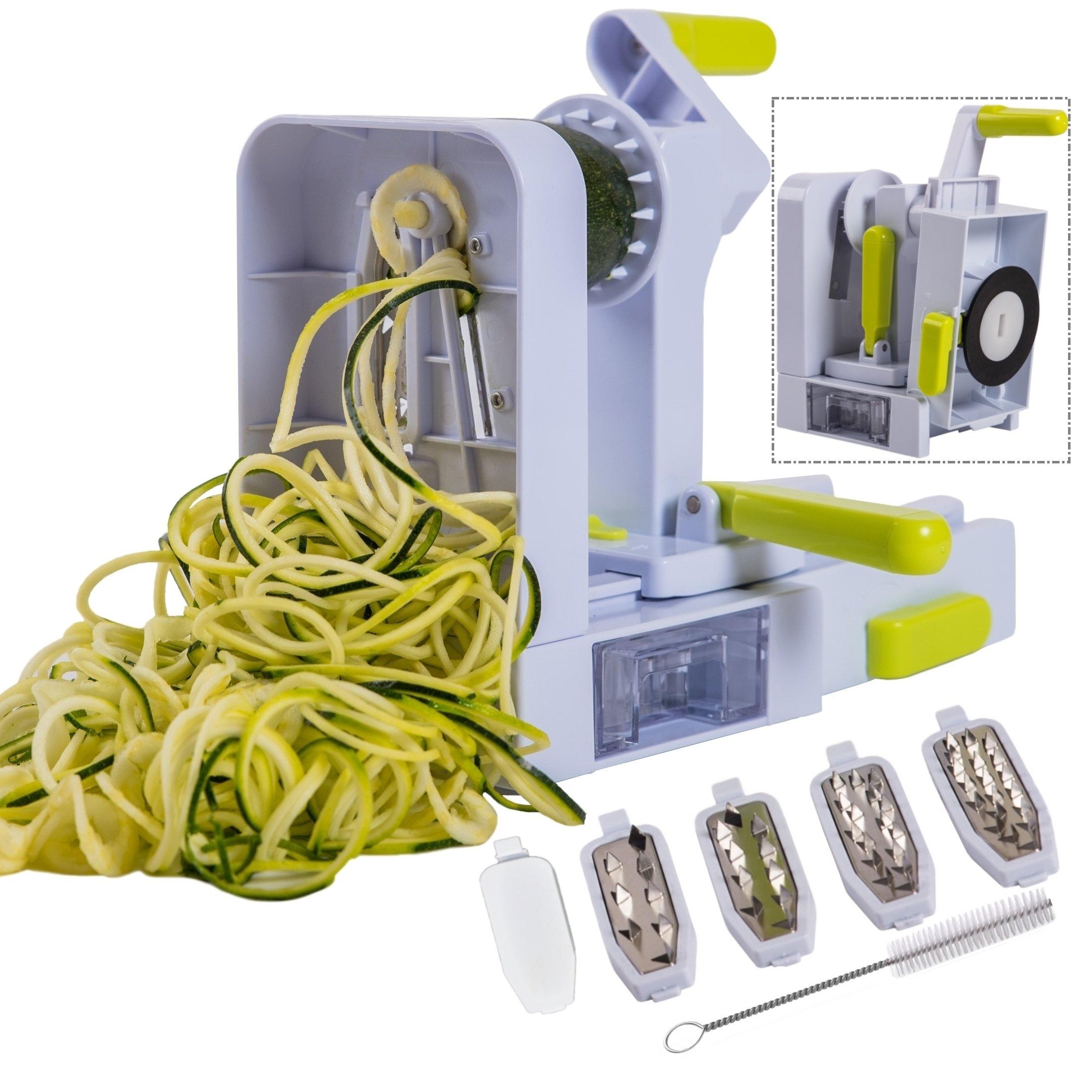 Brieftons QuickFold 5-Blade Spiralizer: 2018 Model, Versatile & Compact Foldable Vegetable Spiral Slicer, Best Veggie Pasta Spaghetti Maker for Low Carb/Paleo/Gluten-Free with Brush & 4 Recipe Ebooks