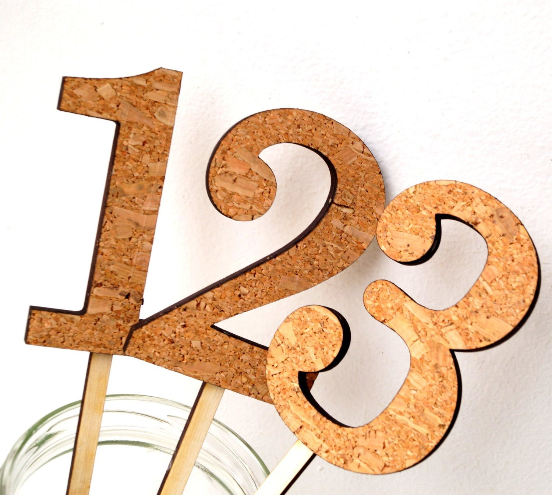 Wedding table numbers, rustic table numbers, cork wood numbers on sticks, rustic wedding decor, vineyard, farm, cottage wedding decoration