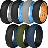 ThunderFit Men Breathable Air Grooves Silicone Wedding Ring Wedding Bands - 7 Rings / 4 Rings / 1 Ring - 8mm Width 2mm Thickn