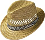 Straw Harvester Hat (sun protection) for men and women |Trilby-style sun hat | Straw hat for summer on the beach or on holiday | Various sizes | Natural colour