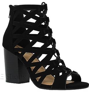 c61761aeff7ec MVE Shoes Women s Open Toe Cut Out Mid Heel Sandal - Ankle Strap Faux  Leather Dress