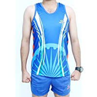 HENCO Royal Blue Sublimation Athletic Sando kit (Sando & Shorts Combo) Running kit for Multi Sports, Yoga, Volleyball, Tennis,Cycling, Badminton, Gym & Fitness Wear for Men/Women